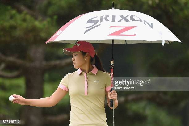 Miyu Shinkai of Japan waits to putt on the 9th green during the final round of the Nichirei Ladies at the on June 18 2017 in Chiba Japan