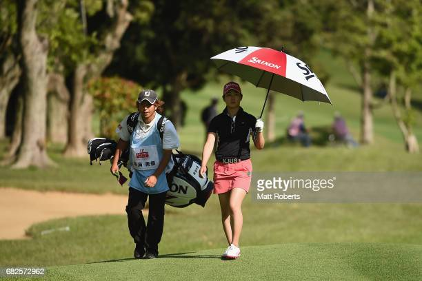 Miyu Shinkai of Japan walks to the 8th green during the second round of the HokennoMadoguchi Ladies at the Fukuoka Country Club Wajiro Course on May...