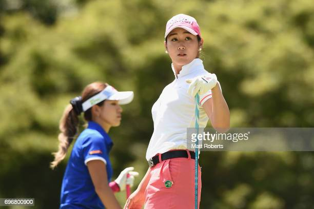 Miyu Shinkai of Japan watches her tee shot on the 12th hole during the second round of the Nichirei Ladies at the on June 17 2017 in Chiba Japan