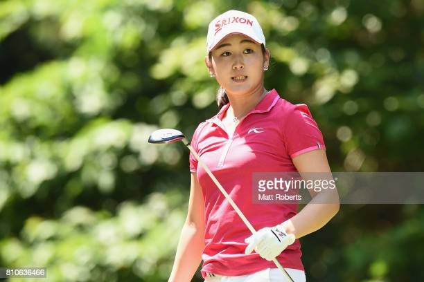 Miyu Shinkai of Japan watches her tee shot on the 12th hole during the second round of the Nipponham Ladies Classics at the Ambix Hakodate Club on...