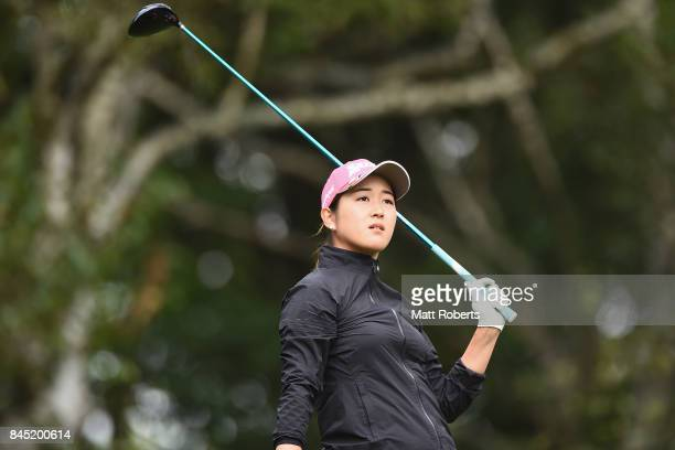 Miyu Shinkai of Japan watches her tee shot on the 2nd hole during the final round of the 50th LPGA Championship Konica Minolta Cup 2017 at the Appi...