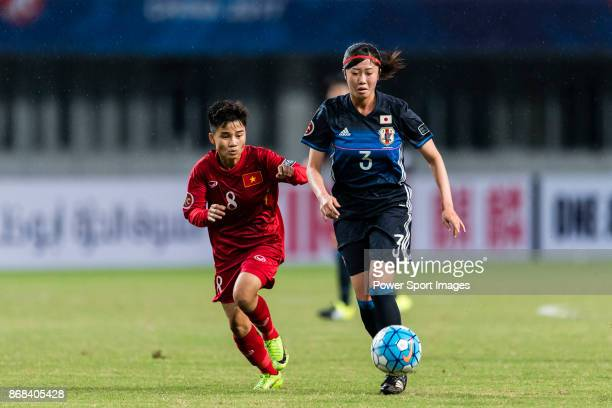 Miyu Takahira of Japan in action against Ha Thi Nhai of Vietnam during their AFC U19 Women'u2019s Championship 2017 Group Stage B match between Japan...