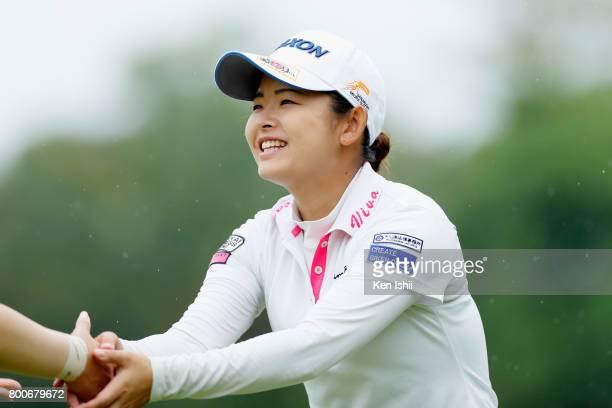 Miyu Yamato of Japan reacts after her putt on the 18th green during the final round of the Yupiteru The Shizuoka Shimbun SBS Ladies at the Shizuoka...
