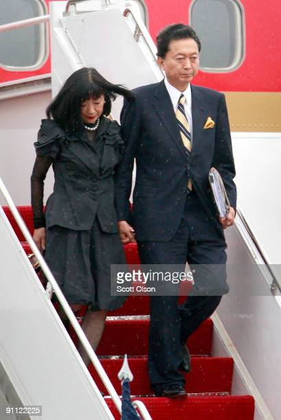 Miyuki Hatoyama and Prime Minister Yukio Hatoyama of Japan arrive for the G20 Pittsburgh Summit at the Pittsburgh International Airport September 24...