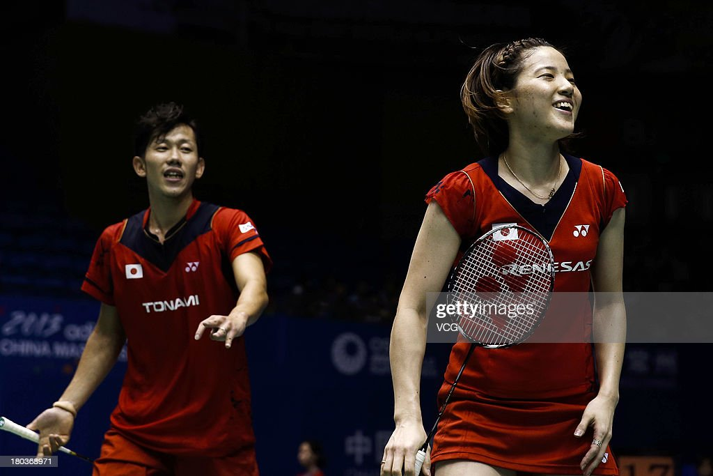 <a gi-track='captionPersonalityLinkClicked' href=/galleries/search?phrase=Miyuki+Maeda&family=editorial&specificpeople=2538262 ng-click='$event.stopPropagation()'>Miyuki Maeda</a> (R) and Hirokatsu Hashimoto of Japan compete in the mixed doubles match against Riky Widianto and Puspita Richi Dili of Indonesia on day 3 of the 2013 China Badminton Masters at Changzhou Olympic Sports Center on September 12, 2013 in Changzhou, China.
