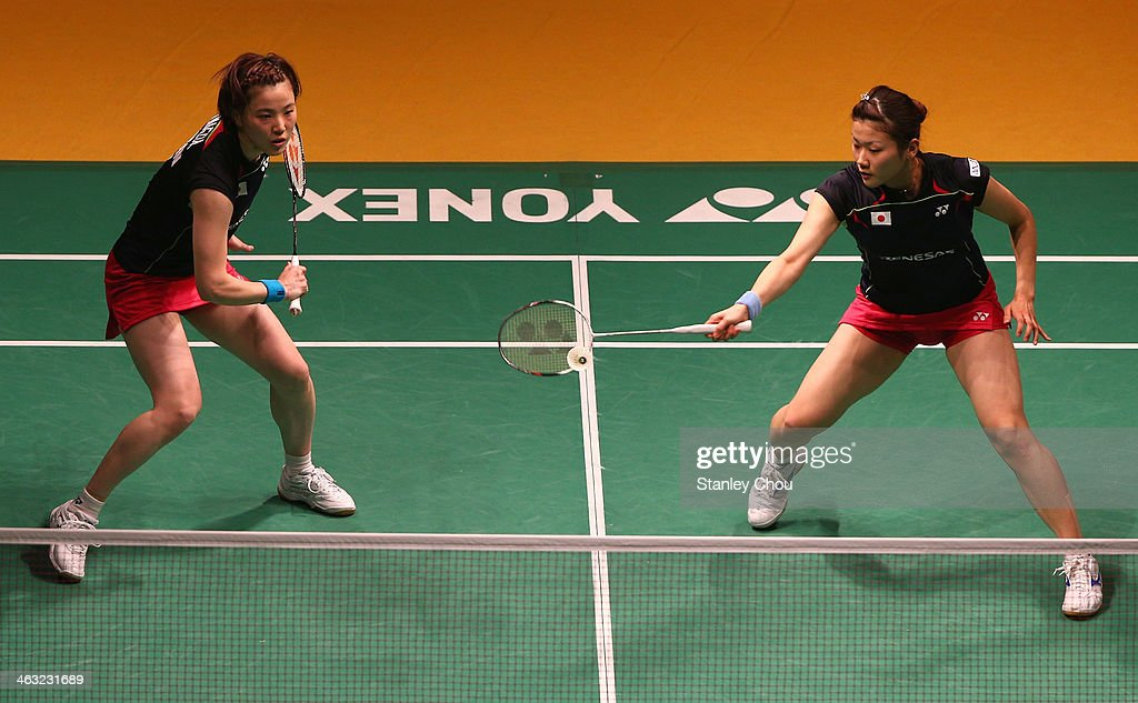 <a gi-track='captionPersonalityLinkClicked' href=/galleries/search?phrase=Miyuki+Maeda&family=editorial&specificpeople=2538262 ng-click='$event.stopPropagation()'>Miyuki Maeda</a> and <a gi-track='captionPersonalityLinkClicked' href=/galleries/search?phrase=Reika+Kakiiwa&family=editorial&specificpeople=6694817 ng-click='$event.stopPropagation()'>Reika Kakiiwa</a> of Japan in action against Lee Sheng Mu and Tsai Chia Hsin of Chinese Taipei during day four of the Woman's Doubles of the Malaysia Badminton Open on January 17, 2014 in Kuala Lumpur, Malaysia.