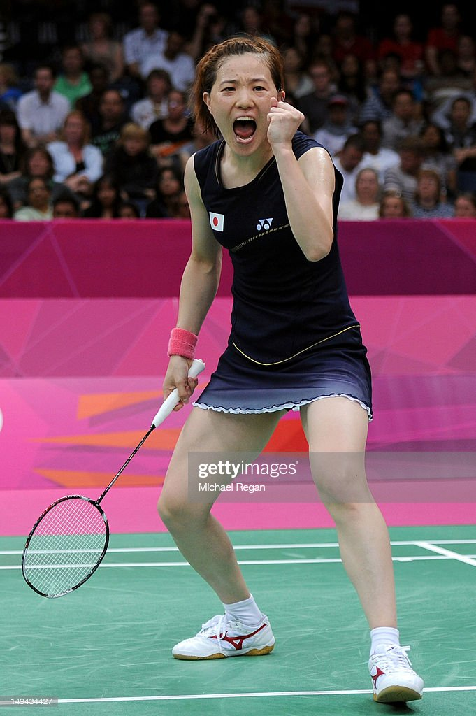 <a gi-track='captionPersonalityLinkClicked' href=/galleries/search?phrase=Miyuki+Maeda&family=editorial&specificpeople=2538262 ng-click='$event.stopPropagation()'>Miyuki Maeda</a> of Japan celebrates after a play against Christinna Pedersen and Kamilla Rytter Juhl of Denmark during their Women's Doubles Badminton on Day 1 of the London 2012 Olympic Games at Wembley Arena on July 28, 2012 in London, England.