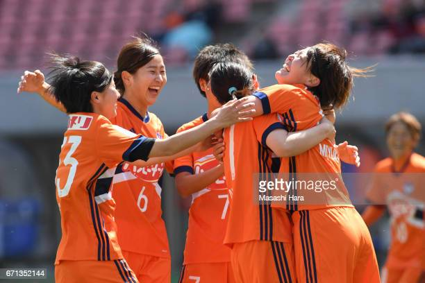 Miyuki Takahashi of Albirex Nigata celebrates the second goal during the Nadeshiko League match between Albirex Niigata Ladies and INAC Kobe Leonessa...