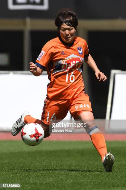 Miyuki Takahashi of Albirex Nigata in action during the Nadeshiko League match between Albirex Niigata Ladies and INAC Kobe Leonessa at Denka Big...