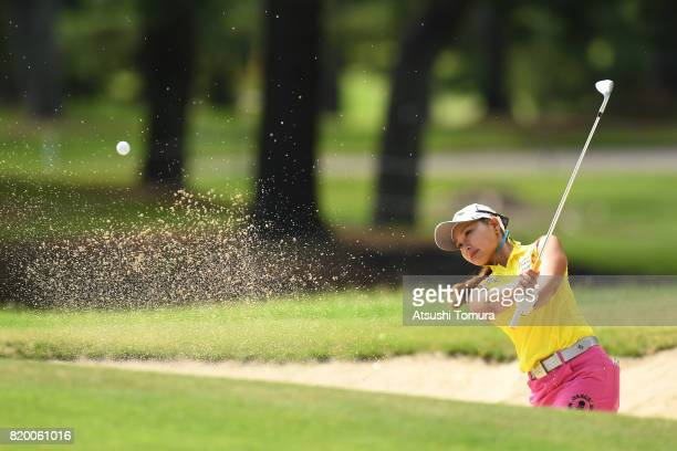 Miyuki Takeuchi of Japan hits from a bunker on the 9th hole during the first round of the Century 21 Ladies Golf Tournament 2017 at the Seta Golf...