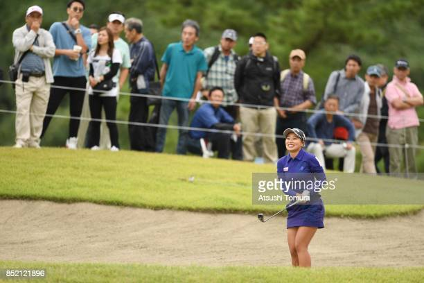 Miyuki Takeuchi of Japan hits her second shot on the 9th hole during the second round of the Miyagi TV Cup Dunlop Ladies Open 2017 at the Rifu Golf...