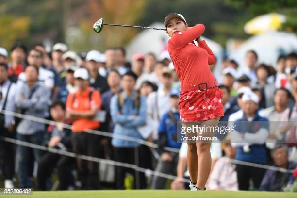 Miyuki Takeuchi of Japan hits her tee shot on the 1st hole during the final round of the Miyagi TV Cup Dunlop Ladies Open 2017 at the Rifu Golf Club...