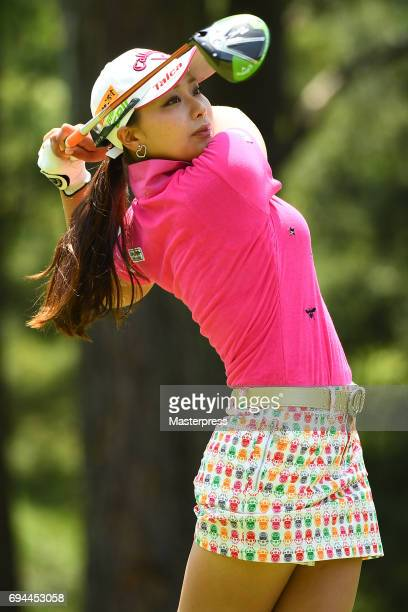 Miyuki Takeuchi of Japan hits her tee shot on the 2nd hole during the third round of the Suntory Ladies Open at the Rokko Kokusai Golf Club on June...