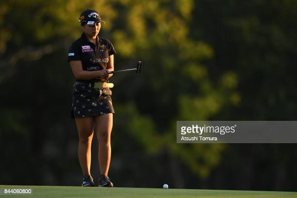 Miyuki Takeuchi of Japan lines up her putt on the 9th hole during the second round of the 50th LPGA Championship Konica Minolta Cup 2017 at the Appi...