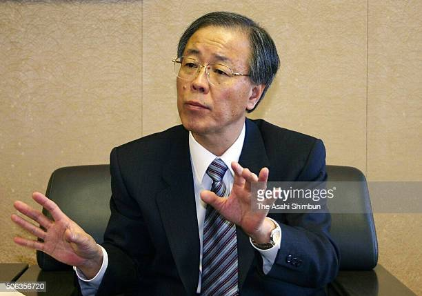 Mizuho Bank President Seiji Sugiyama speaks during the Asahi Shimbun interview at the company headquarters on January 21 2005 in Tokyo Japan