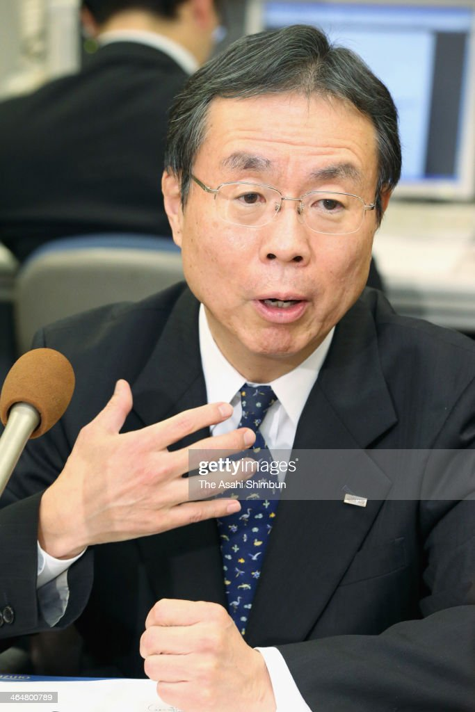 Mizuho Financial Group Inc. Deputy President Nobuhide Hayashi answers questions at a news conference annonnucing Hayashi succeeding Yasuhiro Sato who stepped down as president of its core unit Mizuho Bank on January 23, 2014 in Tokyo, Japan.