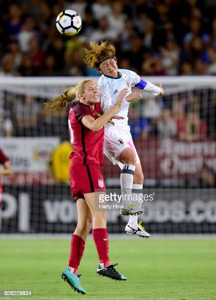 Mizuho Sakaguchi of Japan and Allie Long of the United Statescollide for a ball during a 30 United States win in the 2017 Tournament Of Nations at...