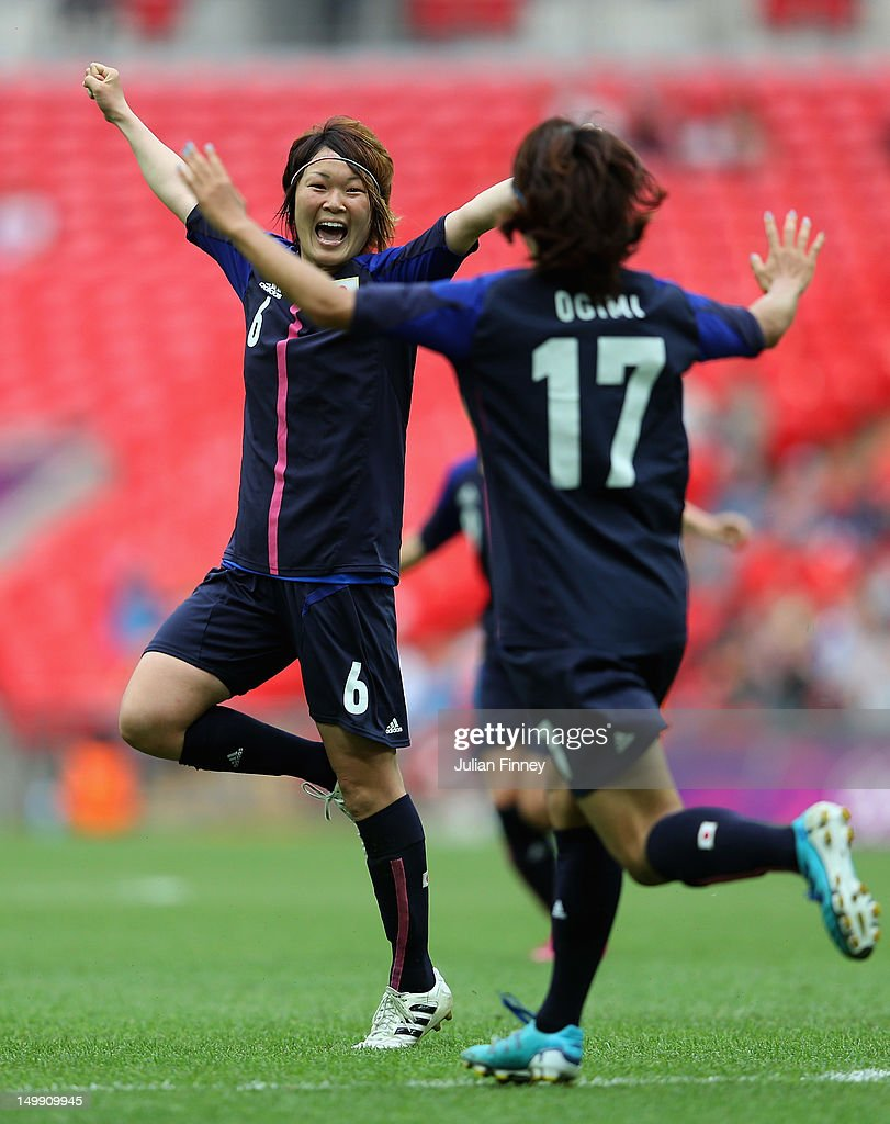 <a gi-track='captionPersonalityLinkClicked' href=/galleries/search?phrase=Mizuho+Sakaguchi&family=editorial&specificpeople=4051213 ng-click='$event.stopPropagation()'>Mizuho Sakaguchi</a> of Japan celebrates scoring the second goal during the Women's Football Semi Final match between France and Japan on Day 10 of the London 2012 Olympic Games at Wembley Stadium on August 6, 2012 in London, England.
