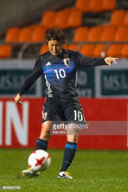 Mizuho Sakaguchi of Japan in action during the international friendly match between Japan and Switzerland at Nagano U Stadium on October 22 2017 in...