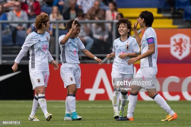Mizuho Sakaguchi of Japan Kumi Yokoyama of Japan Yuka Momiki of Japan Saki Kumagai of Japanduring the friendly match between the women of The...