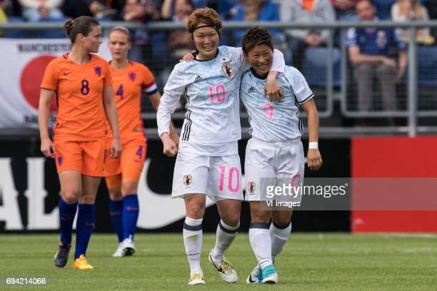 Mizuho Sakaguchi of Japan Kumi Yokoyama of Japanduring the friendly match between the women of The Netherlands and Japan at the Rat Verlegh stadium...