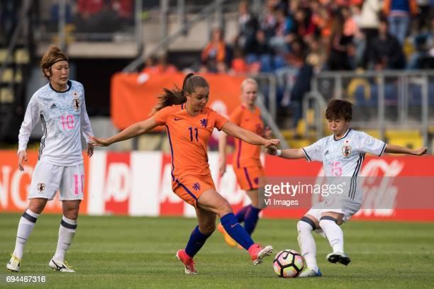 Mizuho Sakaguchi of Japan Lieke Martens of The Netherlands Yuka Momiki of Japanduring the friendly match between the women of The Netherlands and...