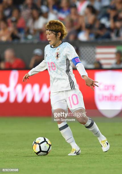 Mizuho Sakaguchi of Japan looks for and open pass during the Tournament of Nations soccer match between USA and Japan on August 03 2017 at StubHub...