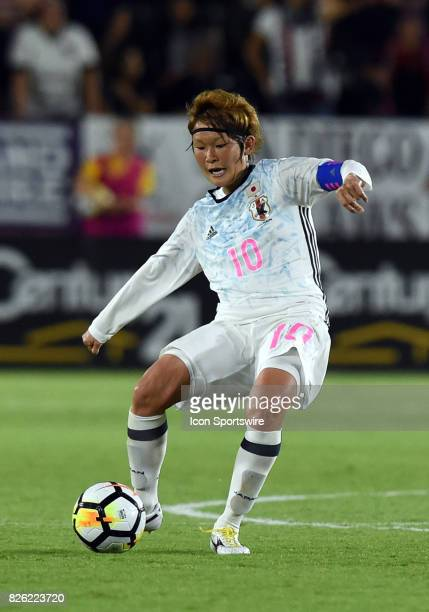 Mizuho Sakaguchi of Japan passes the ball during the Tournament of Nations soccer match between USA and Japan on August 03 2017 at StubHub Center in...