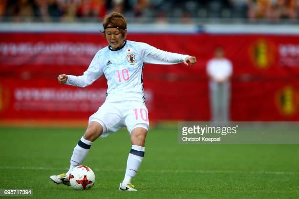 Mizuho Sakaguchi of Japan runs with the ball during the Women's International Friendly match between Belgium and Japan at Stadium Den Dreef on June...