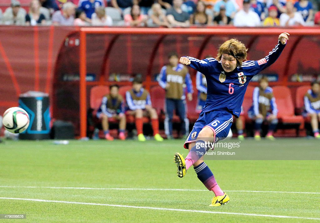 Mizuho Sakaguchi of Japan scores her team's second goal during the FIFA Women's World Cup 2015 Round of 16 match between Japan and Netherlands at the BC Place Stadium on June 23, 2015 in Vancouver, Canada.