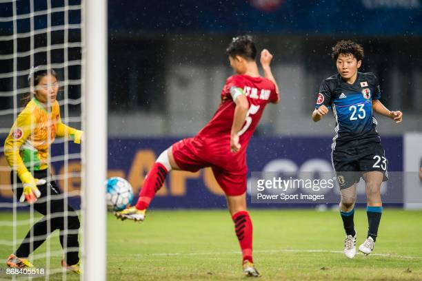Mizuka Sato of Japan attempts a kick to the goal during their AFC U19 Women'u2019s Championship 2017 Group Stage B match between Japan and Vietnam at...