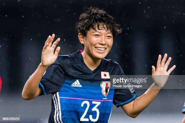 Mizuka Sato of Japan celebrating her score during their AFC U19 Women'u2019s Championship 2017 Group Stage B match between Japan and Vietnam at...
