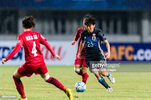 Mizuka Sato of Japan in action during their AFC U19 Women'u2019s Championship 2017 Group Stage B match between Japan and Vietnam at Jiangning Sports...