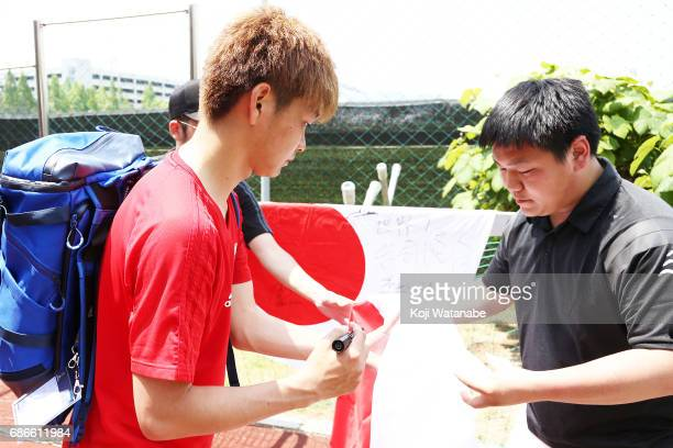 Mizuki Ichimaru of Japan sins with funs during a training session ahead of the FIFA U20 World Cup Korea Republic 2017 group D match against Uruguay...