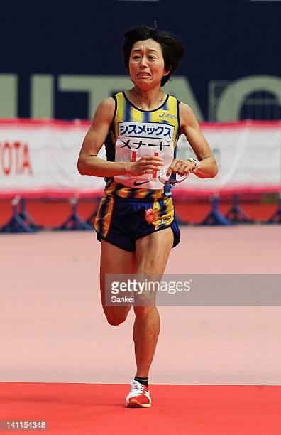 Mizuki Noguchi crosses the finishing line as 6th during the Nagoya Women's Marathon 2012 at Nagoya Dome on March 11 2012 in Nagoya Japan