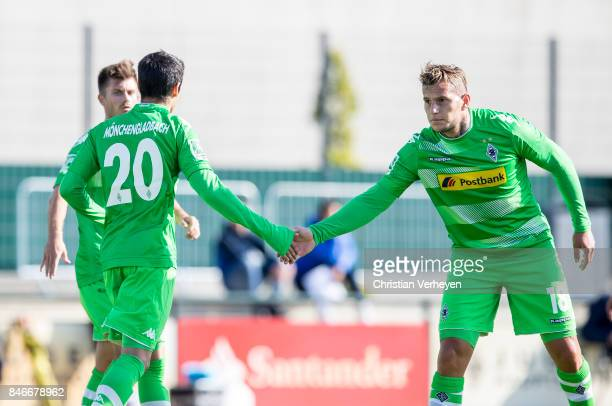 MJulio Villalba of Borussia Moenchengladbach celebrate with Raul Bobadilla after he scores his teams second goal during a friendly match between...