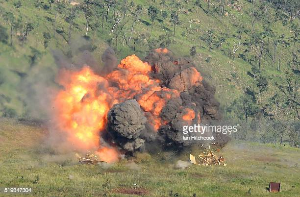 Mk82 High Explosive bomb dropped from an F/A 18E Super Hornet from the United States Navy fighter squadron VFA115 explodes on targets on April 6 2016...
