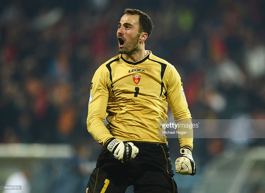 Mladen Bozovic of Montenegro celebrates during the FIFA 2014 World Cup Qualifier Group H match between Montenegro and England at City Stadium on March 26, 2013 in Podgorica, Montenegro.