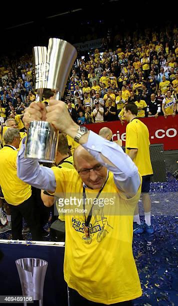 Mladen Drijencic head coach of Oldenburg celebrates after winning the BEKO BBL Top Four final game between EWE Baskets Oldenburg and Brose Baskets...