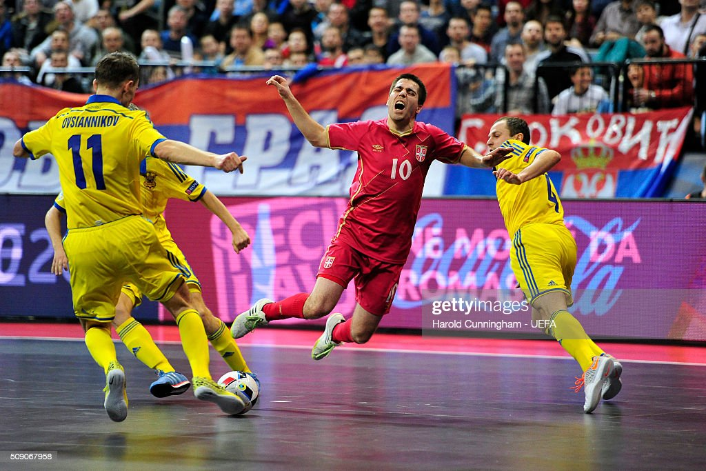 Mladen Kocic of Serbia in action during the UEFA Futsal EURO 2016 quarter final match between Serbia and Ukraine at Arena Belgrade on February 8, 2016 in Belgrade, Serbia.