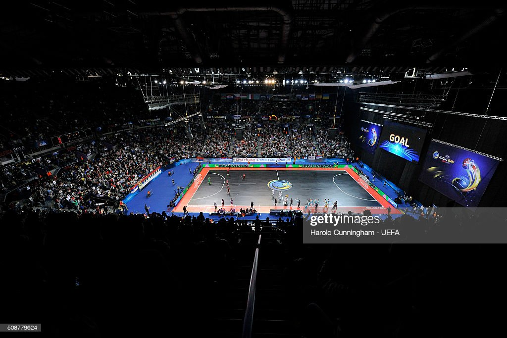 Mladen Kocic of Serbia scores a goal during the UEFA Futsal EURO 2016 match between Portugal and Serbia at Arena Belgrade on February 6, 2016 in Belgrade, Serbia.