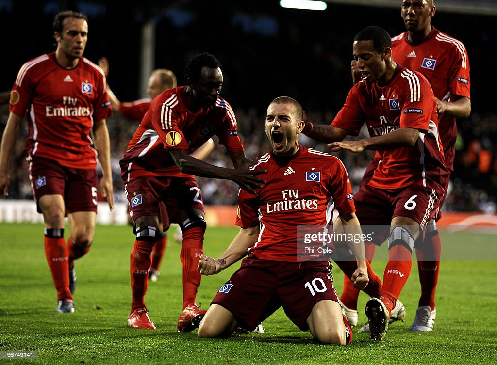 <a gi-track='captionPersonalityLinkClicked' href=/galleries/search?phrase=Mladen+Petric&family=editorial&specificpeople=699883 ng-click='$event.stopPropagation()'>Mladen Petric</a> of Hamburg celebrates after he scores a free kick during the UEFA Europa League Semi-Final 2nd leg match between Fulham and Hamburger SV at Craven Cottage on April 29, 2010 in London, England.