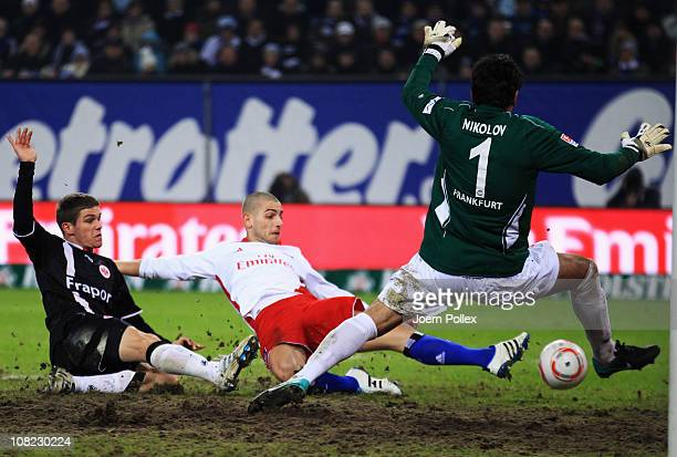 Mladen Petric of Hamburg scores his team's first goal during the Bundesliga match between Hamburger SV and Eintracht Frankfurt at Imtech Arena on...
