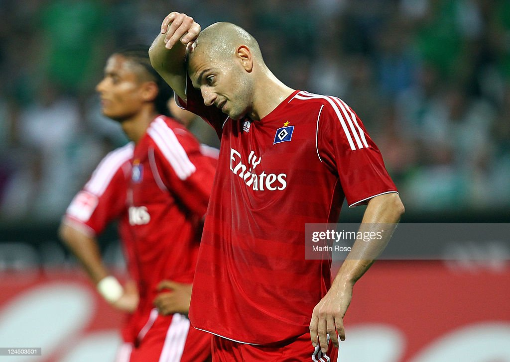<a gi-track='captionPersonalityLinkClicked' href=/galleries/search?phrase=Mladen+Petric&family=editorial&specificpeople=699883 ng-click='$event.stopPropagation()'>Mladen Petric</a>,of Hamburg reacts during the Bundesliga match between Werder Bremen and Hamburger SV at Weser Stadium on September 10, 2011 in Bremen, Germany.