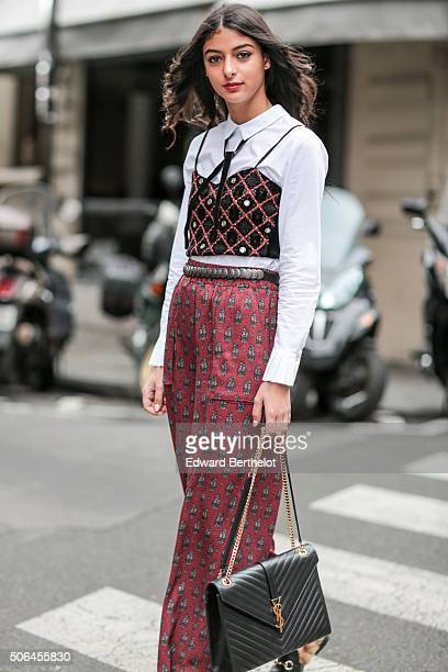 Mlanie Darmon wearing a Mango full outfit a YSL bag and Gucci shoes after the Songzio show during Paris Fashion Week Menswear Fall Winter 2016/2017...