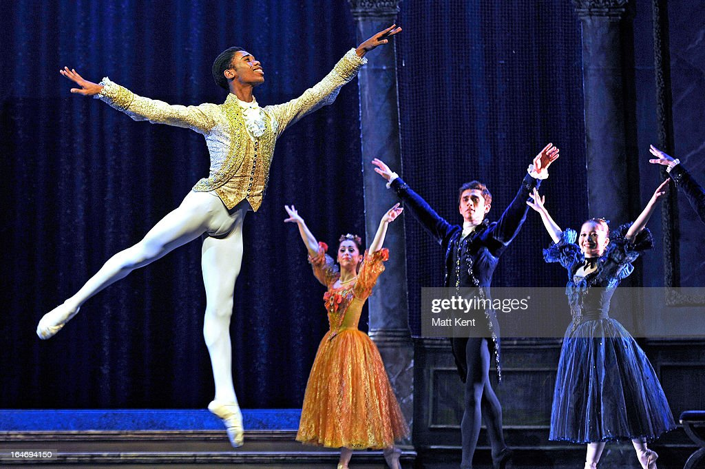 Mlindi Kulashe performs as the Prince during the dress rehearsal for the English National Ballet's 'My First Cinderella' at The Peacock Theatre on March 26, 2013 in London, England.