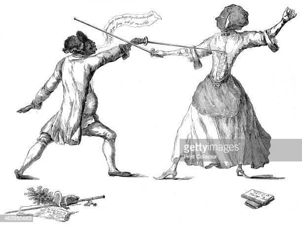 'Mlle la Chevaliere d'Eon de Beaumont fencing at Carlton House 9th April 1787' The Chevalier d'Eon having a swordfight with Monsieur de Saint George...