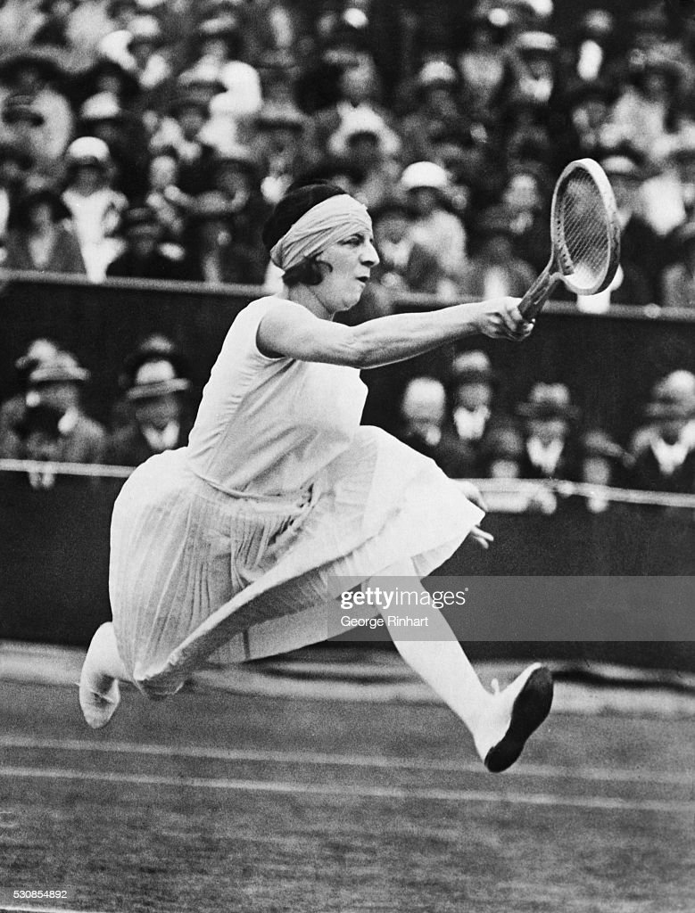 Suzanne Lenglen Jumping to Hit a Ball