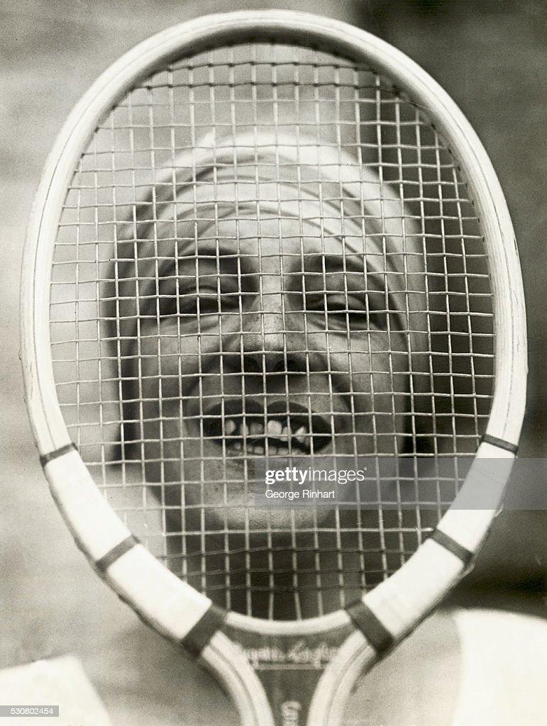 Suzanne Lenglen Looking Through Her Racquet