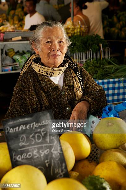 Mme Badrijah Walad selling Pamplemousse. central market, on waterfront, Port??Moselle.